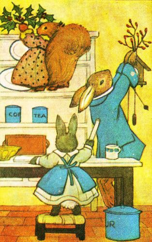 Little Grey Rabbit's Christmas Illustration by Margaret Tempest 1981