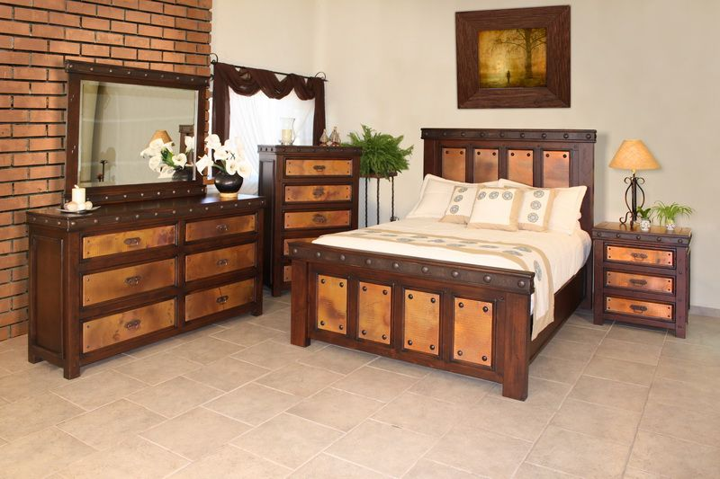 7pc Bedroom Set With Hammered Copper Accents And Distressed Wood Queen 3334 Rustic Bedroom Furniture Bedroom Sets Furniture Queen Country Bedroom Furniture
