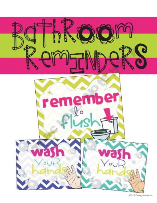 Reminders to wash and flush - chevron, bright and colorful! (Free)