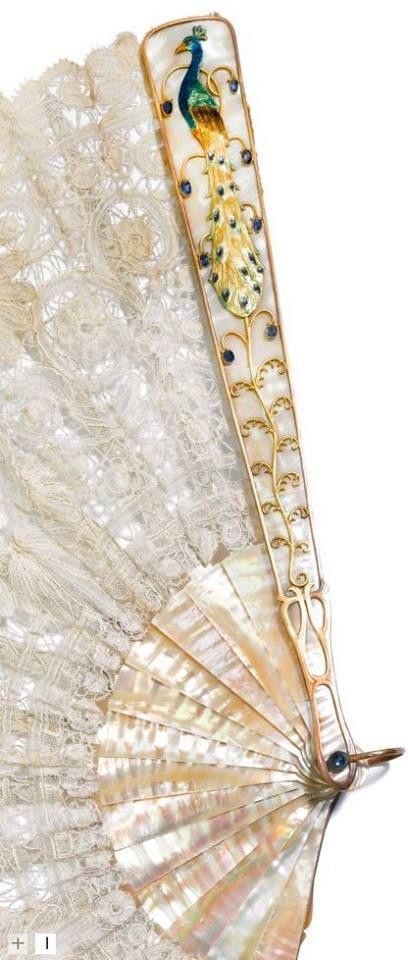Art Nouveau Mother-of-pearl Fan, jewelled, enamelled gilt-metal mounts Brussels lace, Dresden ca.1910