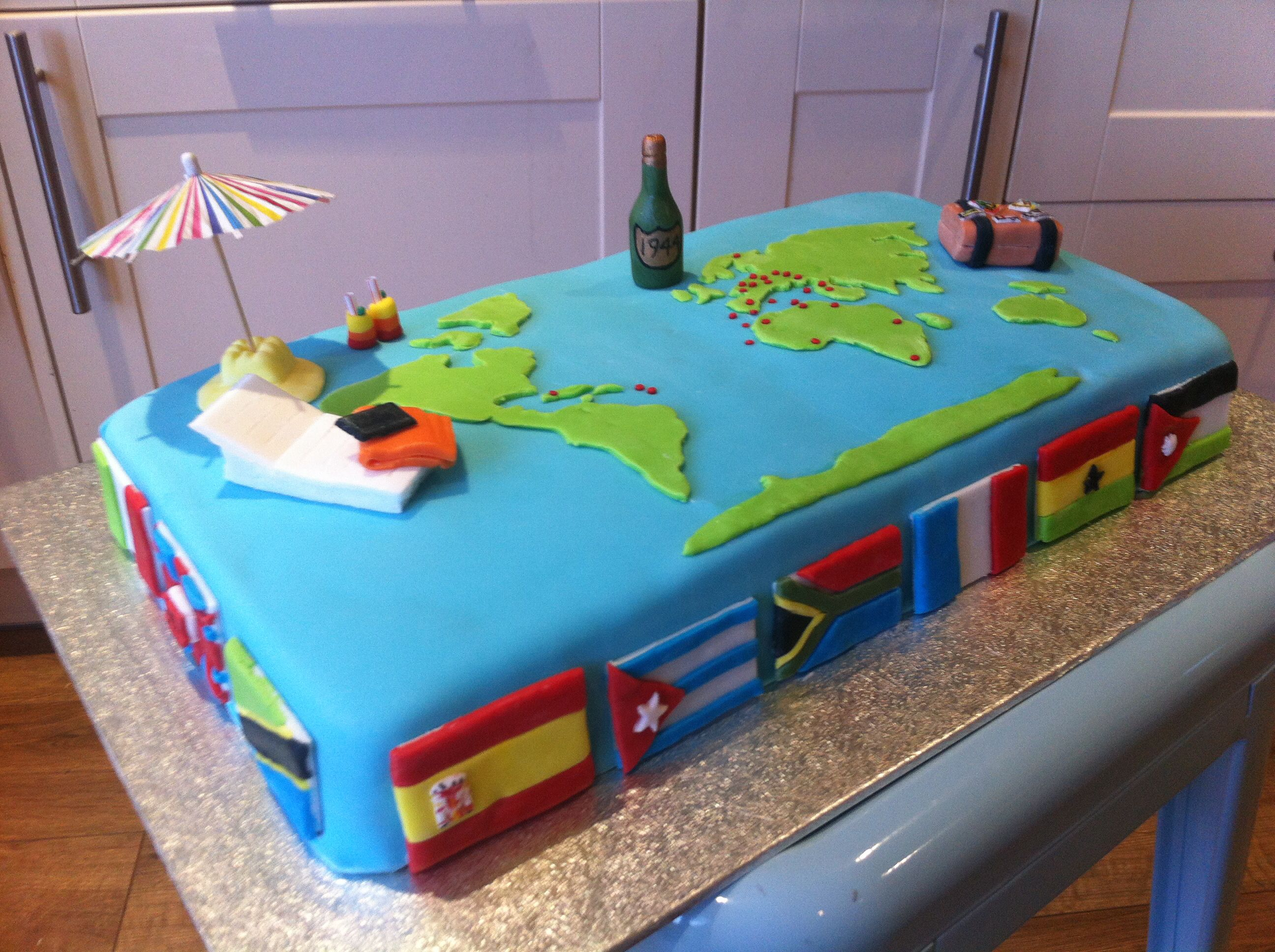 World Traveller Cake  World Map  Flags Maggie Anna Cakes And - World birthday cake