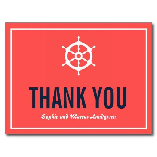 Navy and Coral Nautical Wedding Thank You Postcard