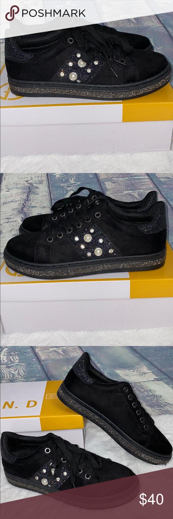 fashion black rhinestone sneakers 7