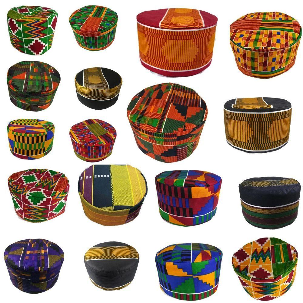 African Traditional Men Kids Kente Kofi Dashiki Cap Kufi Hat53 55 57 59 60 62 64 Handmade Embroidered African Hats African Men Fashion African Fashion