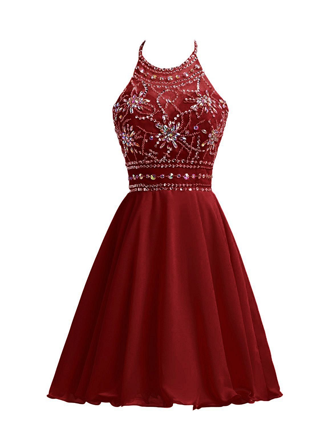 Wine Red Short Homecoming Dresses with Sparkle Tops, Prom Dress ...