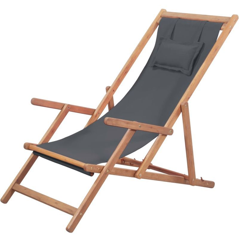 Klappbarer Strandstuhl Stoff Und Holzrahmen Grau Stuhl Stoff