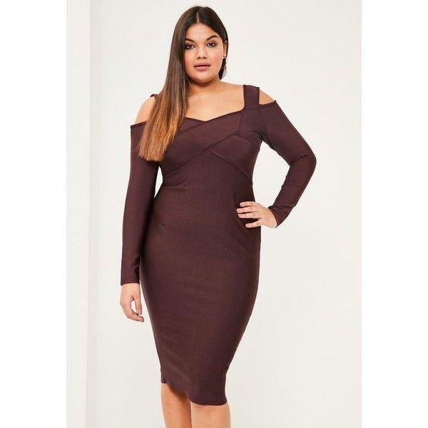 Missguided Plus Size Purple Cold Shoulder Bandage Bodycon Dress 45