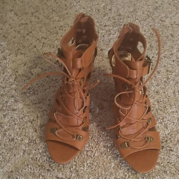 1d6fa677ce5b Brown Dollhouse Lace Up Heels 9 Brown Dollhouse Lace Up Heels 9... Great  condition