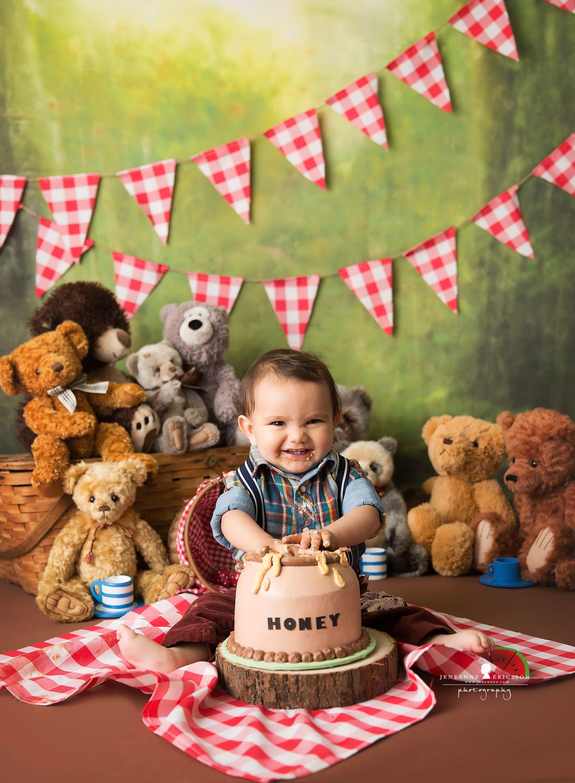 Teddy Bear Picnic Cake Smash Teddy Bear Picnic Birthday Party Teddy Bear Birthday Party Teddy Bear Picnic Birthday