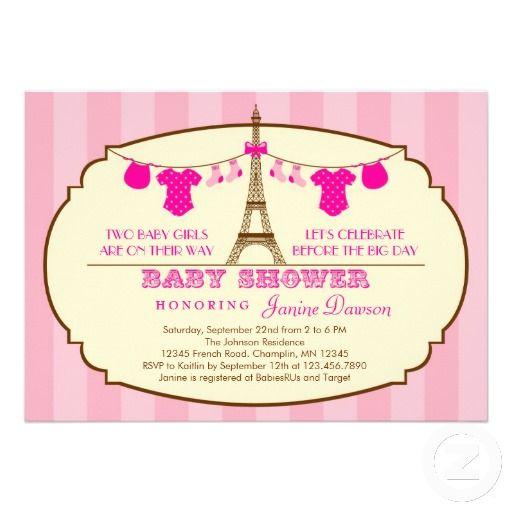 French eiffel tower twin baby shower invitation twin baby shower french eiffel tower twin baby shower invitation filmwisefo