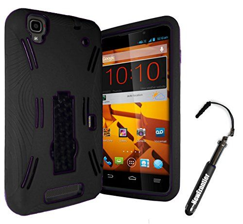 New Frontier (TM) Heavy Duty Protector Stylish Silicone Case with Kickstand for Boost MAX N9520 (Black Black) With 1 NF Stylus Pen
