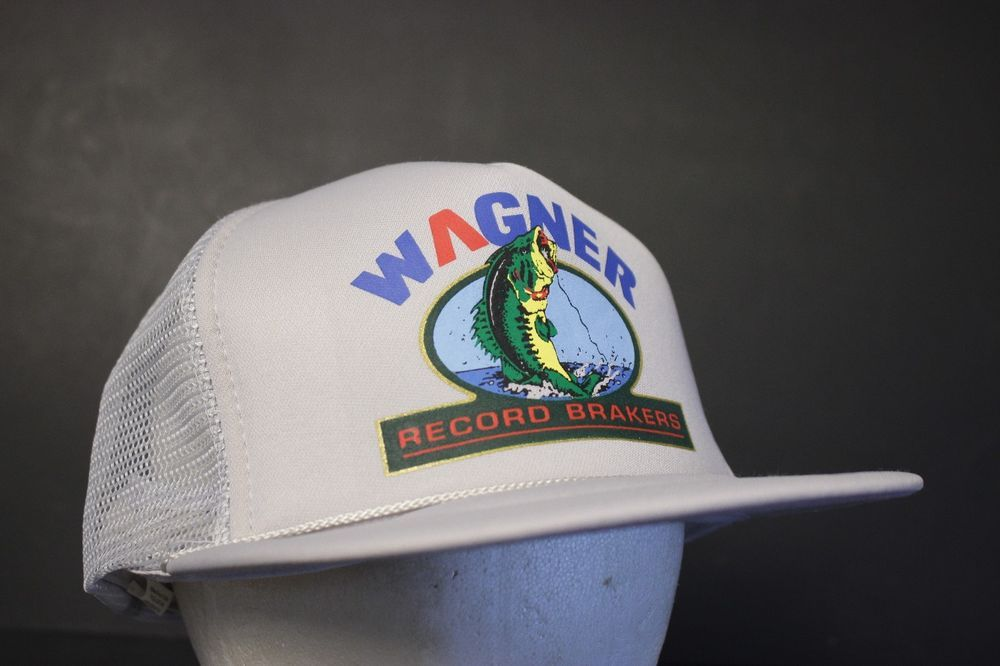 44cefeaf57f Wagner Record Brakers Mesh Trucker Hat Cap Bass Fishing Gray Vintage  Hipster  HaT  Trucker