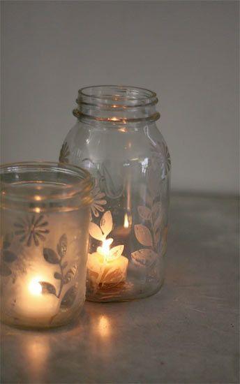 DIY - Etched Mason Jar Candleholders Step-by-Step Tutorial. A lovely and easy way to repurpose old jars.