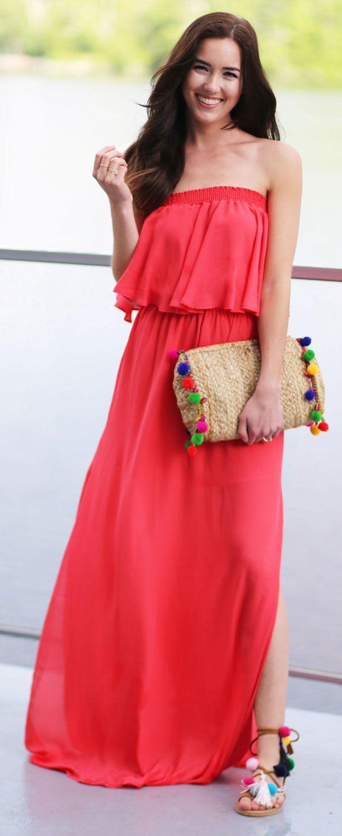 The prettiest orangered maxi summer dress can be worn strapless