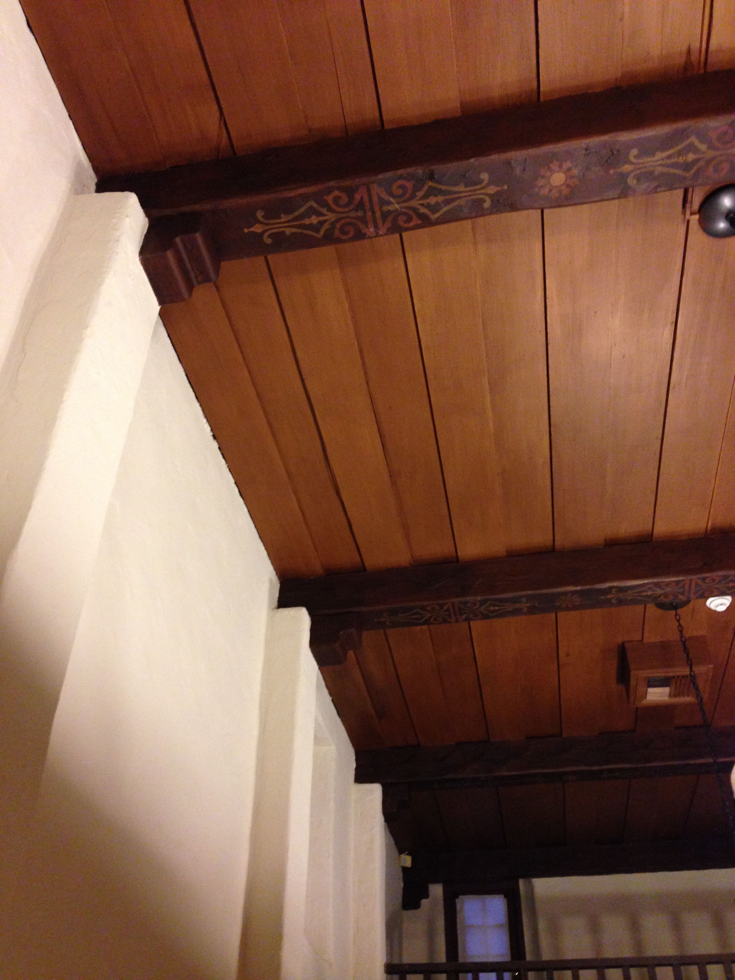 Painted Wood Ceilings Painted Wood Ceiling With Stained And Stenciled Wood Beams Using