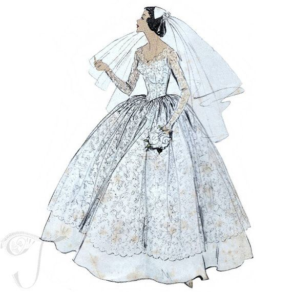 50s Vogue Wedding dress sewing pattern 9084, bust 31 inches, bridal ...