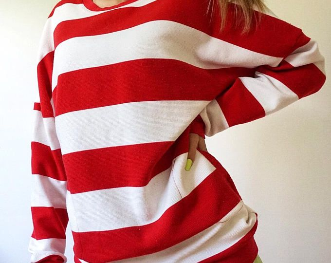 Where's Waldo Red and White Striped Long Oversized Sweater - Size ...