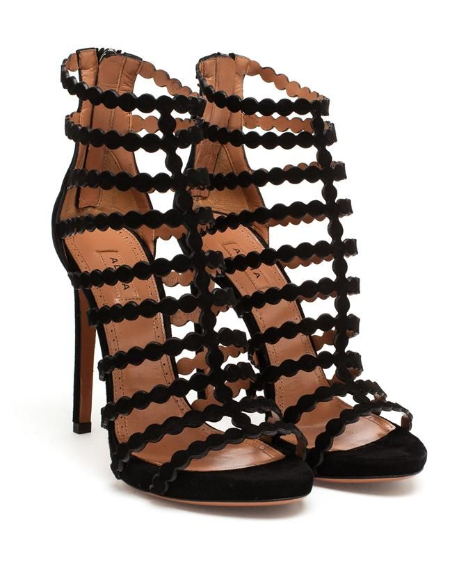 AZZEDINE ALAÏA | Laser-cut Suede Sandals | Browns fashion & designer clothes & clothing