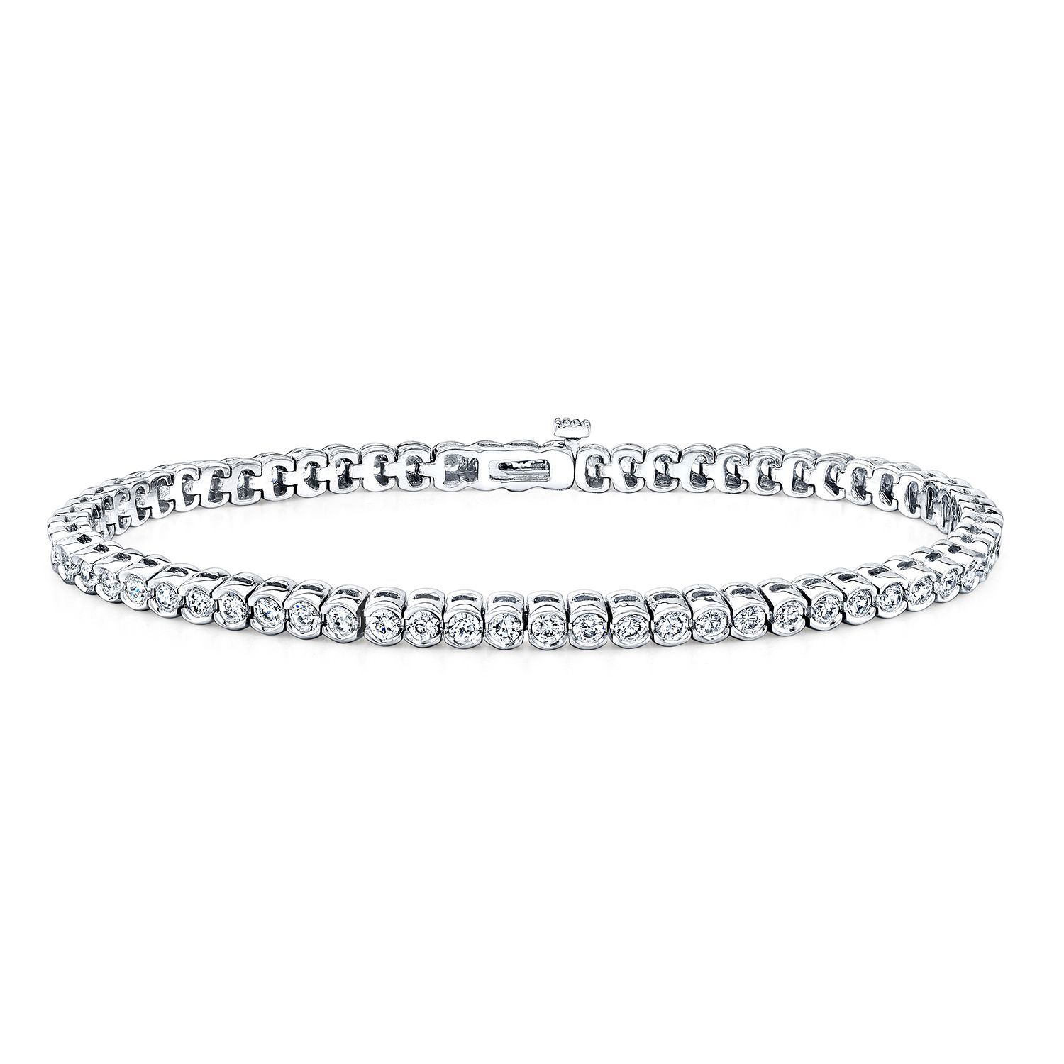 Auriya k white gold ct tdw round cut diamond half bezel tennis