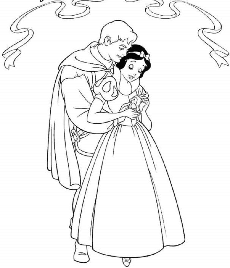 snow white and prince coloring pages | Coloring Pages For Kids ...