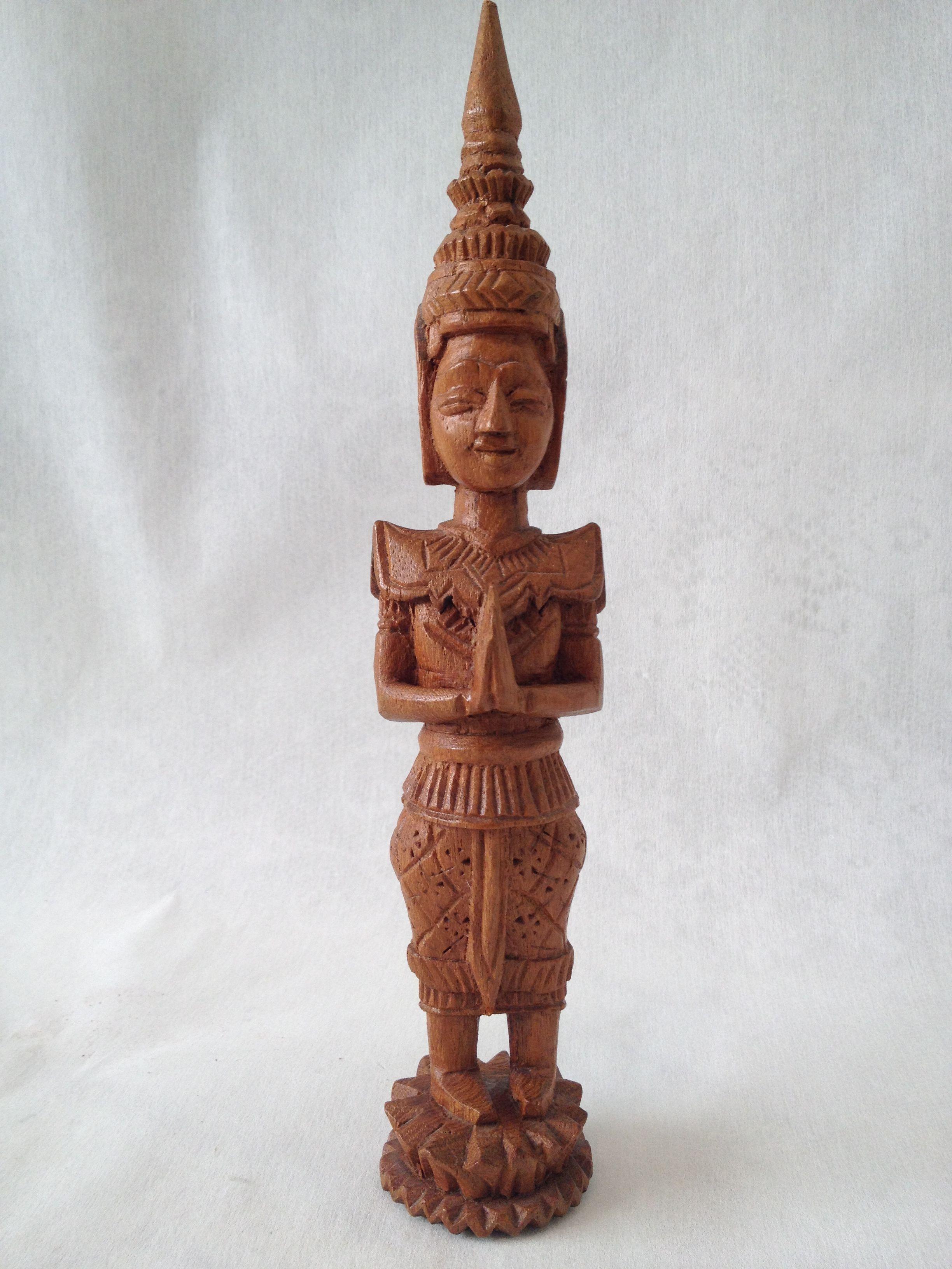 Huge old hand carved wood federal eagle folk art wooden eagle wall - Hand Carved Vintage Wood Thai Woman Figurine