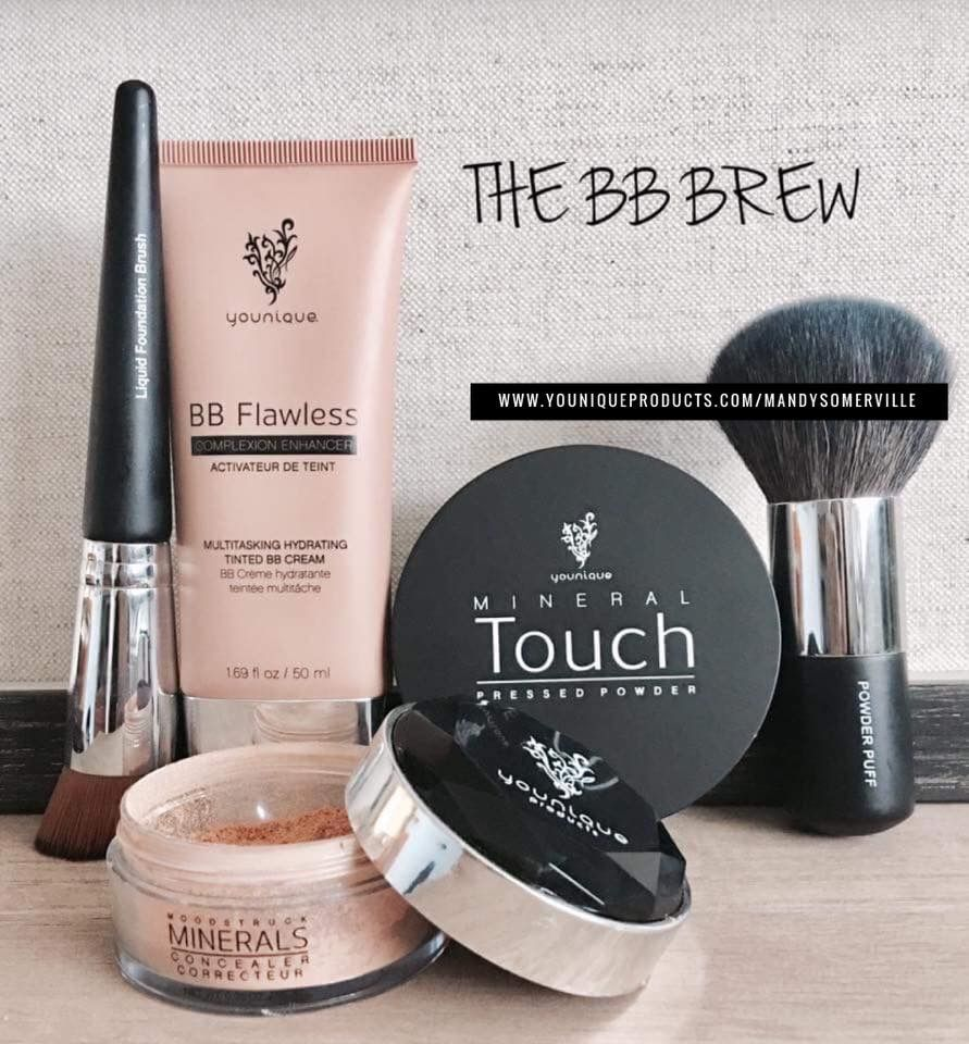 BB brew  The bb cream is perfect it blends and sets to your skin tone to give you the flawless look  A cocktail for your skin  bb flawless  Mineral concealer Pressed powder  Choose your tool  liquid foundation or powder puff brush