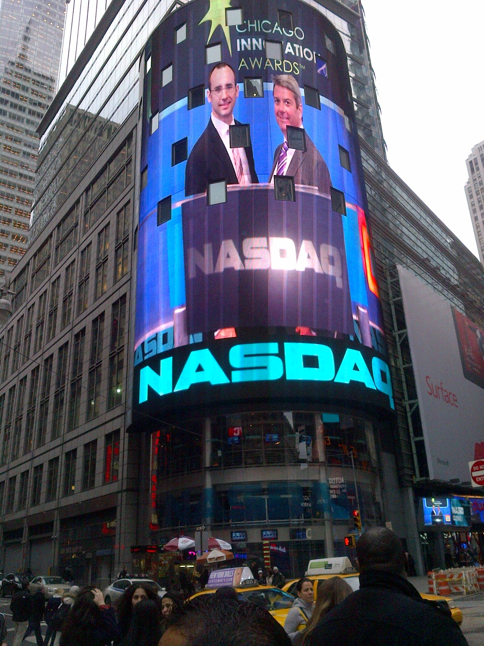 Medline Representatives Featured On The Nasdaq Omx Marketsite Tower In Times Square Getting Ready To Ring The N Nasdaq Stock Market Innovation Award Innovation
