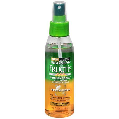 Garnier Fructis Triple Nutrition Spray. Smells amazing, makes hair soft, shiny and no fly aways!