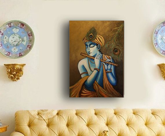 Check out this item in my Etsy shop https://www.etsy.com/uk/listing/469778827/krishna-painting-large-hand-painted-sri