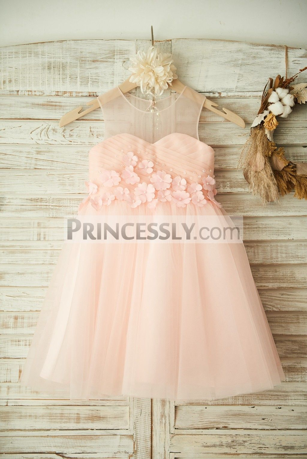 81a0bfa6233 Sheer Neck Pink Tulle Wedding Flower Girl Dress with Beading and 3D Flower