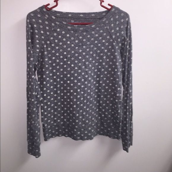 Gray Long sleeve Gap tshirt - Adult Small Gray with white polka dot long sleeve GAP Tops Tees - Long Sleeve