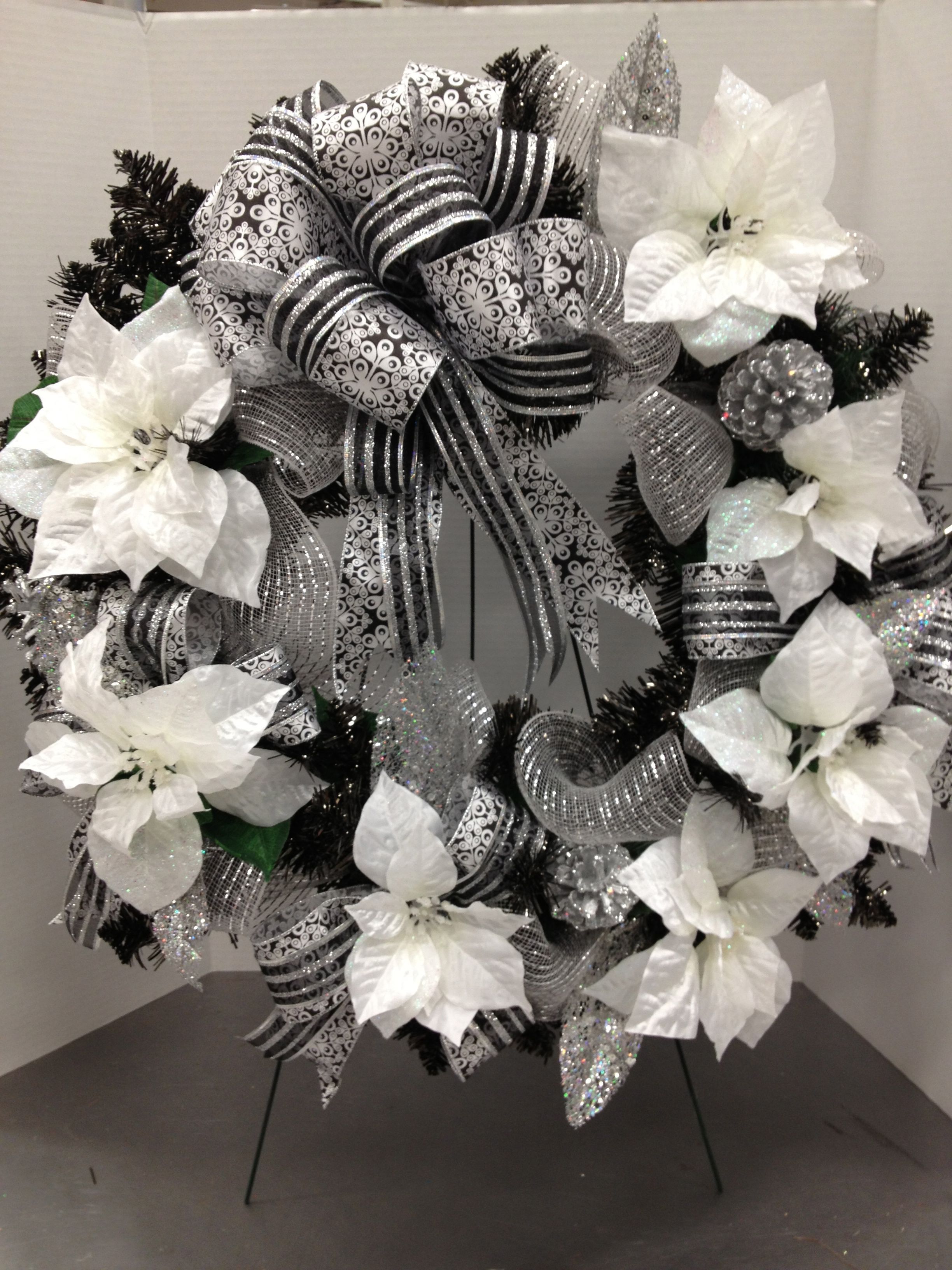 Black And White Christmas Party Ideas Part - 32: Black Tinsel Wreath Black U0026 White Christmas By Christian Rebollo For Store  1552