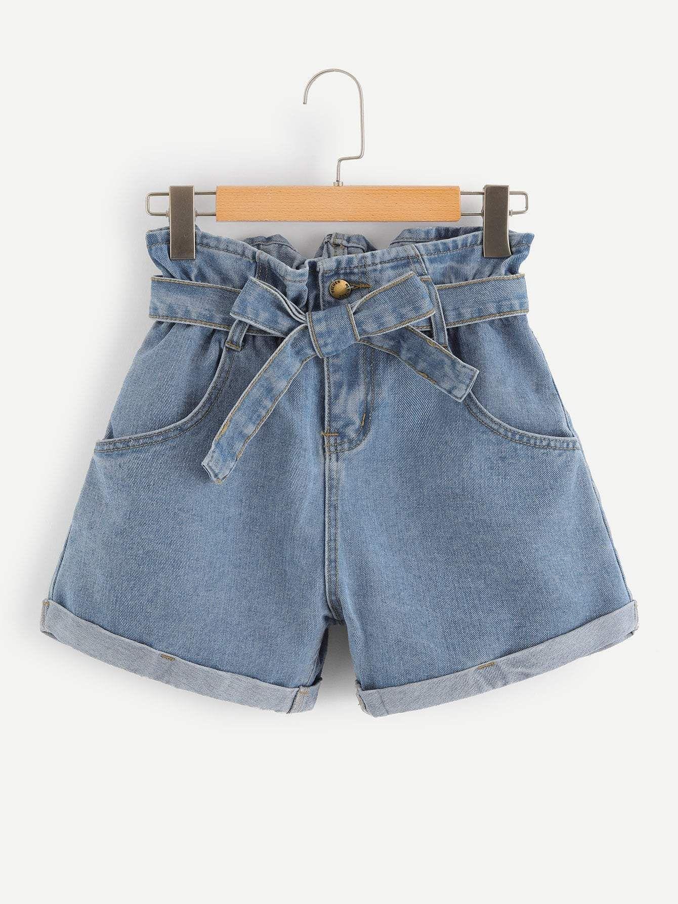 Self Belted Rolled Hem Denim Shorts