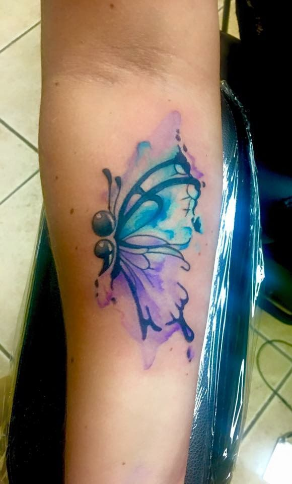 Photo of nice Watercolor tattoo – Watercolor semi colon butterfly by Shawn Elliott at Iko…