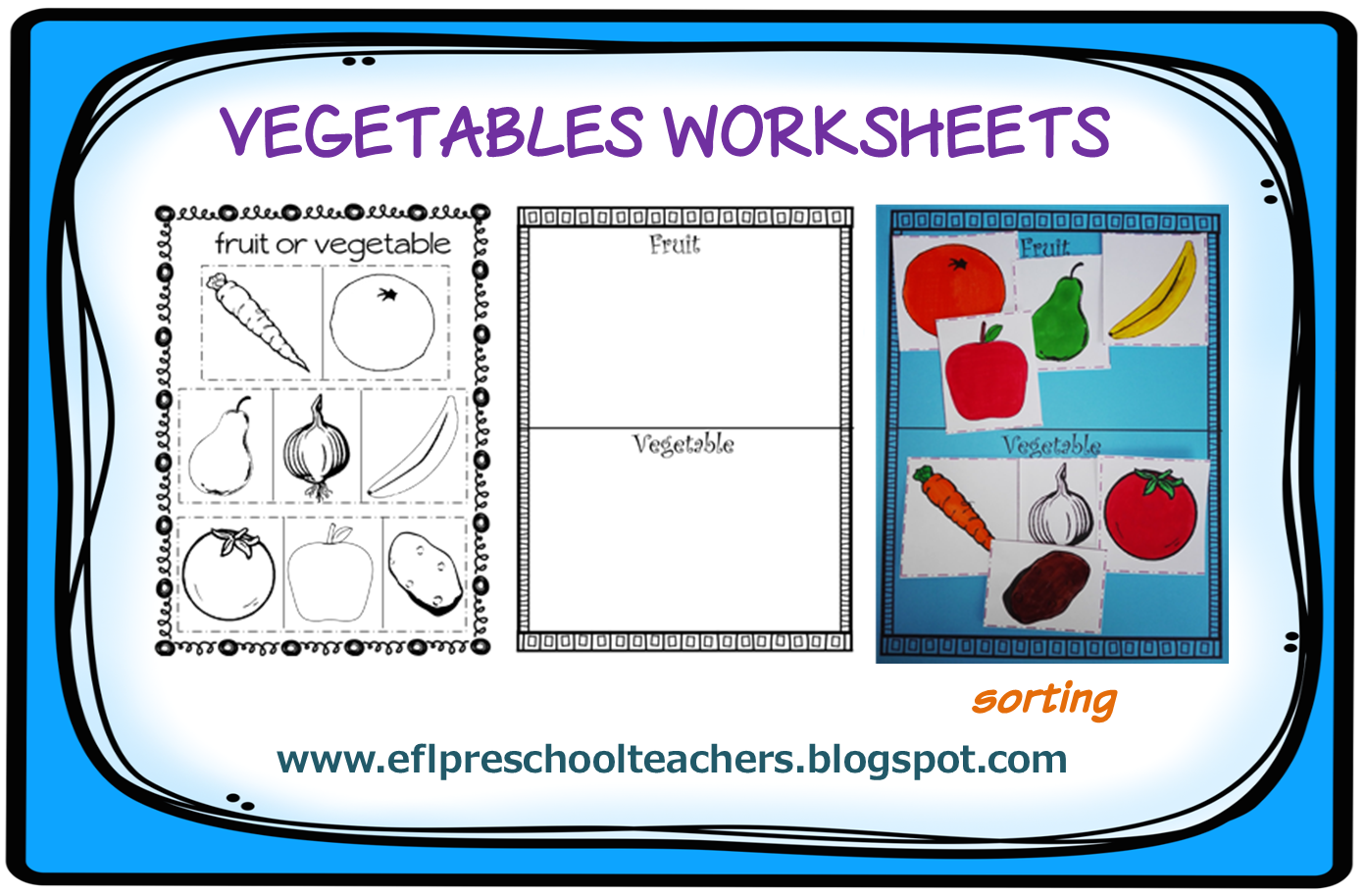 Fruit And Vegetable Worksheets Sorting