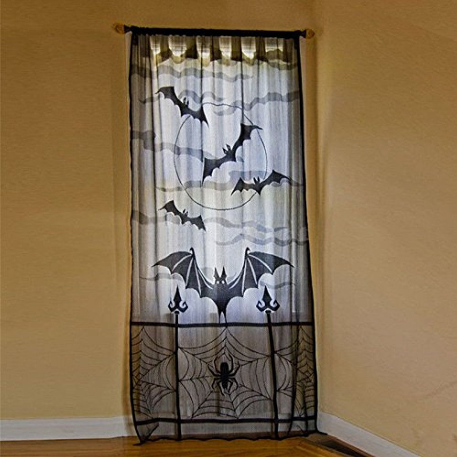 Haperlare 40 x 84 inch Halloween Window Curtains Lace Bat Spider Web - Window Halloween Decorations