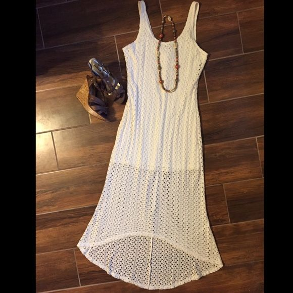 Cream crochet dress Green crochet high low dress. Awesome light weight dress in perfect condition. Worn once for a few hrs, no damage. Easily paired with a belt, flats, wedges or a jean jacket, could be a very versatile piece. Bought from target. Dresses
