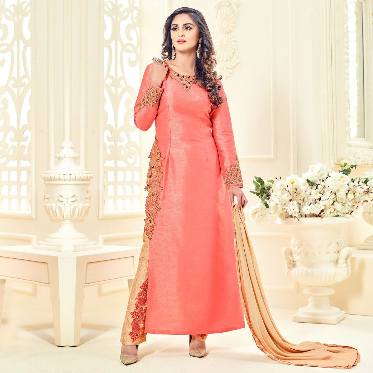 Buy Peach Embroidered Work Cotton Silk Suit online India, Best ...
