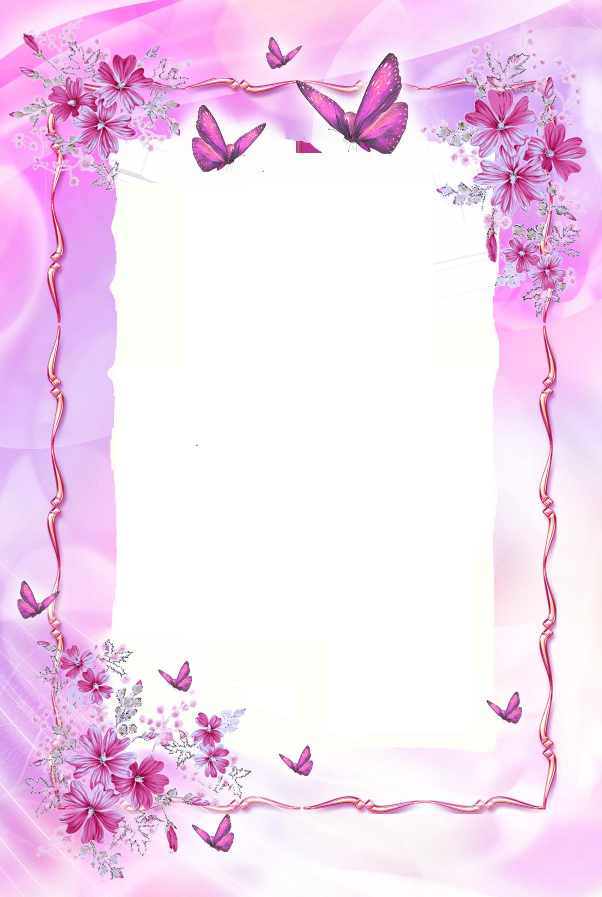 Beautiful Pink Transparent Frame with Butterflies | Frames ...