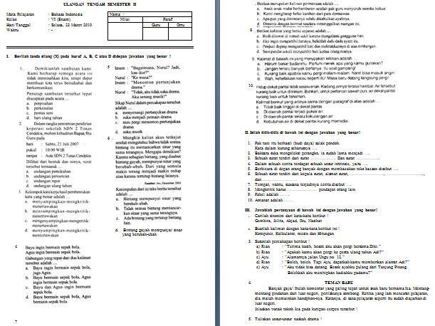 Soal Dan Jawaban Uts Bahasa Jawa Kelas 3 Semester 2