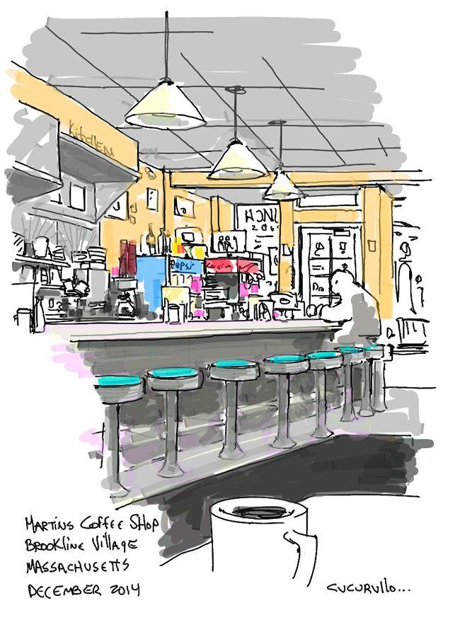 Martin's Coffee shop Brookline, Massachusetts (cafe sketch by Michael Cucurullo)