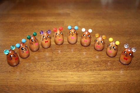 acorn craft muizenfamilie gemaakt van eikels