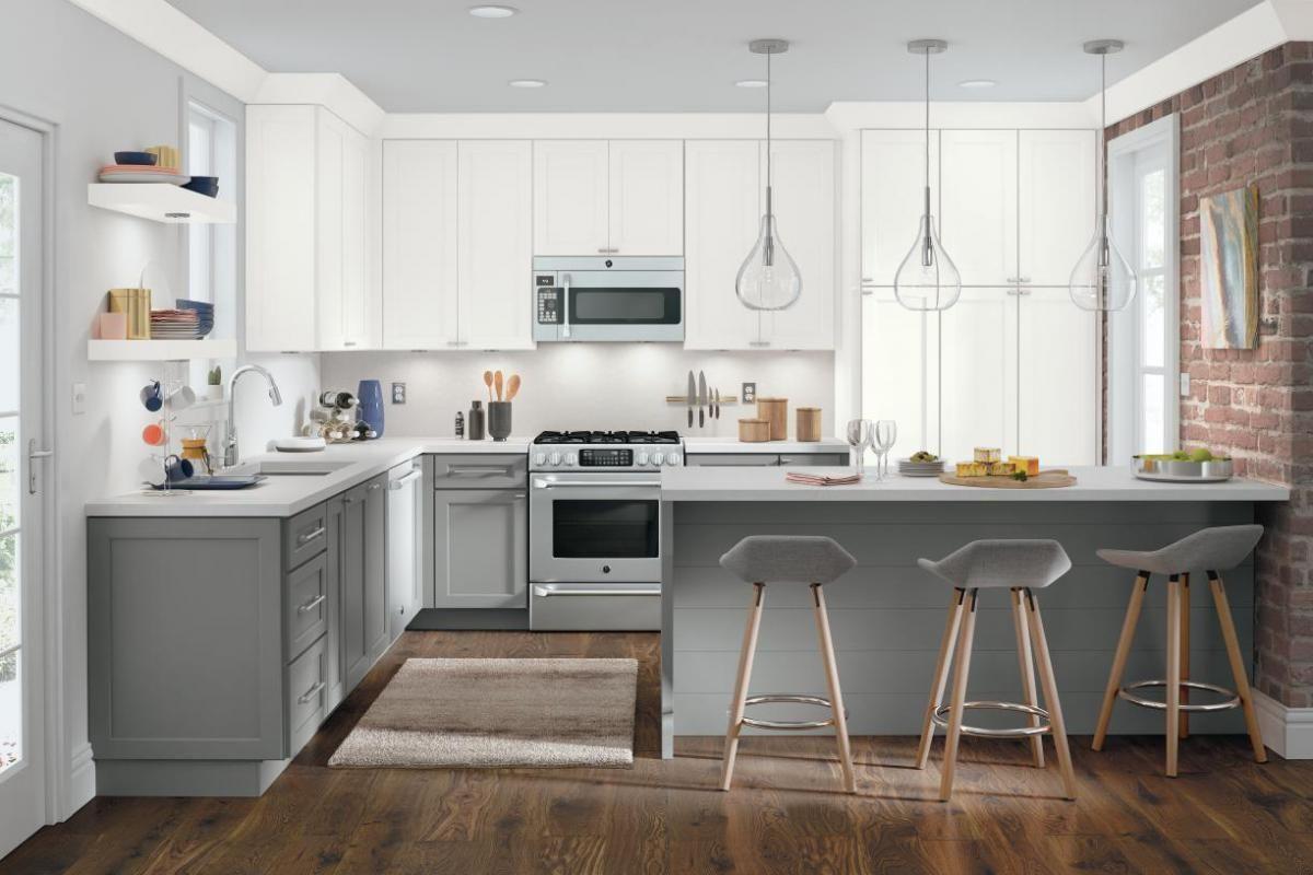 Hollings Maple Snowflake Iron Grey Custom Kitchen Cabinets