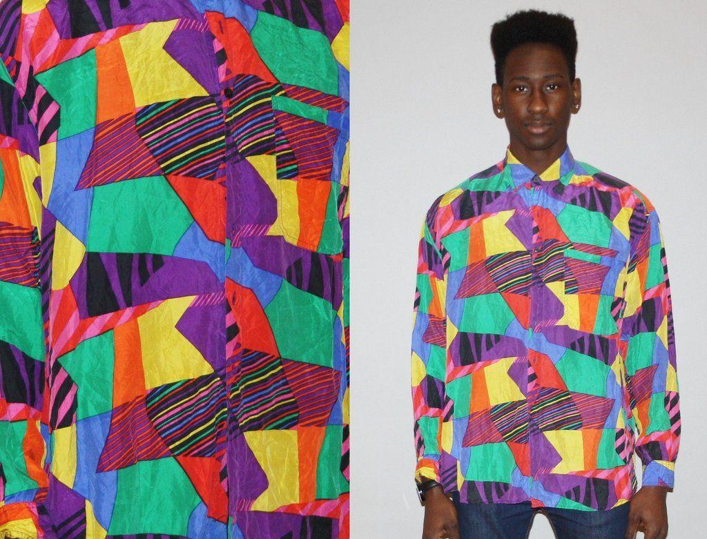 32aa84602a0a Vintage 1990s Silk Graphic Geometric Rainbow Men s Button Up Dress Shirt
