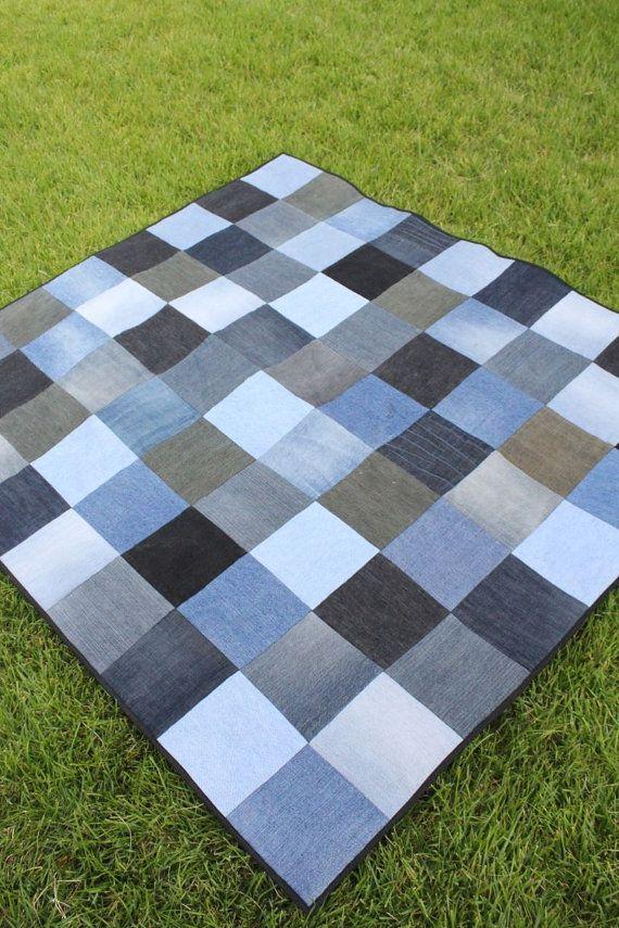 Modern rustic throw quilt from recycled denim quilts pinterest upcycling deckchen und jeans - Wandbehang modern ...
