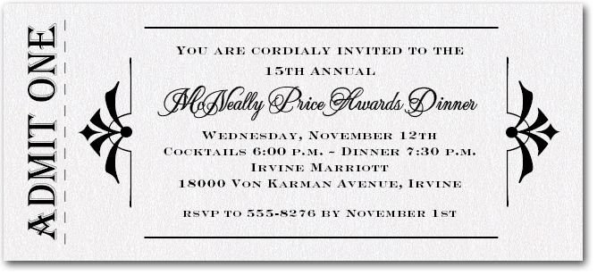 Admit One White Sparkle Business invitation, Ticket invitation - Formal Business Invitation