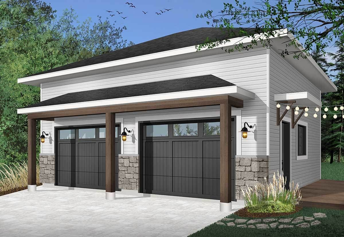 Plan 22508DR: Modern 2-Car Detached Garage (With images ...