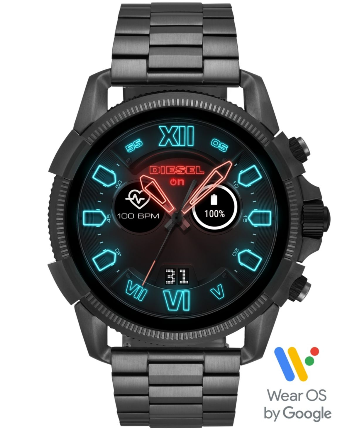 Diesel Men S Full Guard 2 5 Gunmetal Stainless Steel Bracelet Touchscreen Smart Watch 48mm Powered By Wear Os By Google Reviews Watches Jewelry Watches Macy S Diesel Watch