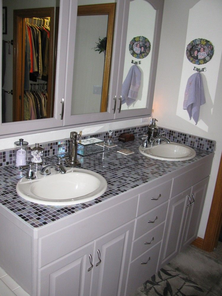 plum brule 3 4 x 3 4 glass tiles as a bathroom countertop d