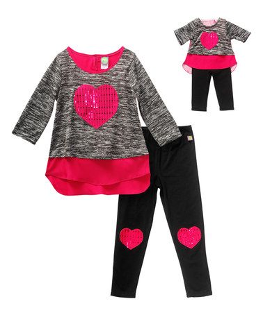 be59f565eb55 This Fuchsia   Black Heart Leggings Set   Doll Outfit is perfect ...